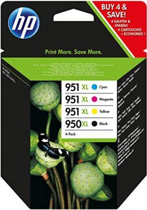 HP C2P43AE 950XL/951XL - Juego de 4 cartuchos de tinta (gran capacidad), color negro y tricolor