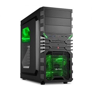 Sharkoon - Caja de ordenador (Midi-Tower, PC, ATX, Micro-ATX, Mini-ITX, 1 x 120 mm, 12 cm), color negro y verde
